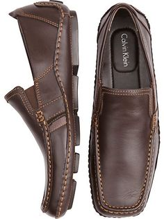 Shoes - Calvin Klein Dark Brown Slip-On Shoes - Men's Wearhouse