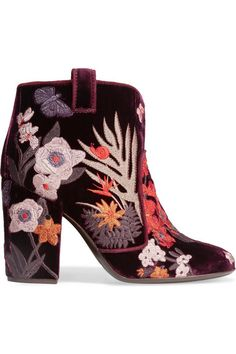 LAURENCE DACADE Pete Embroidered Velvet Ankle Boots. #laurencedacade #shoes #boots