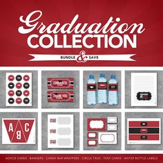 Graduation Collection in Red includes 28 downloads! Graduation party favors include Advice Cards, Banner, Candy Bar Wrappers, Cupcake Toppers, Tags, Tent Cards and Water Bottle Labels! By Studio 120 Underground, $15.