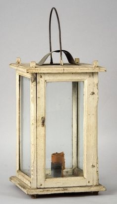 Wooden candle lantern in white paint