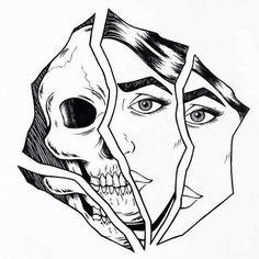 Dark Art Drawings, Pencil Art Drawings, Art Drawings Sketches, Tattoo Sketches, Tattoo Drawings, Cool Drawings, Dibujos Tattoo, Skull Art, Aesthetic Art