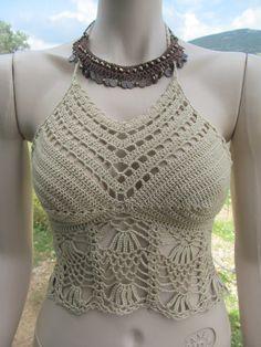 Crochet Crop Top, Crochet Blouse, Crochet Yarn, Crochet Bikini, Crochet Baby Dress Free Pattern, Crochet Bathing Suits, Crochet Woman, Beautiful Crochet, Crochet Clothes