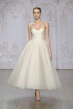 Monique Lhuillier Blush Wedding Dresses Tea Length