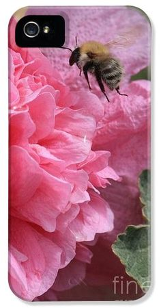 """""""Bee in the Hollyhocks"""" by Carol Groenen #iPhonecase #iPhonecases"""