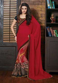 Maroon & Black Half & Half Bhaglpuri Silk Printed Saree