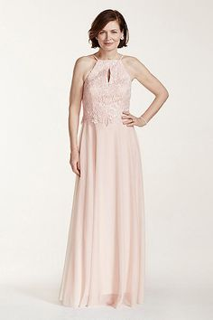 Sequin Beaded Lace Bodice Dress with Key Hole 56754D Mother of the Bride