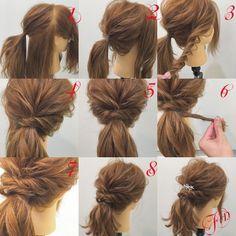 ミディアム×ポニーテールアレンジ✨ 1,横と後ろを分けて耳より少し上の髪を結びます 2,下の余ってる髪を1番と合体させて結びます 3,右横の髪を捻って崩します 4,ポニーテールの左側にピン留めします 5,左横の髪も捻って崩しポニーテールの右側にピン留めします 6,ポニーテールの髪を少しとり捻ります 7,捻った髪をポニーテールに巻きつけてピン留めします 8,写真のようになります Fin,飾りを付けて崩したら完成です。 ポニーテールにする時に2回に分けて結ぶと毛束を引き出しやすいですよ★ 参考になれば嬉しいです^ ^ #ヘア#hair#ヘアスタイル#hairstyle#サロンモデル#サロンモデル撮影#サロンモデル募集#撮影#編み込み#三つ編み#フィッシュボーン#ロープ編み #アレンジ#SET#ヘアアレンジ#アレンジ動画#アレンジ解説#香川県#高松市#丸亀市#宇多津#美容室#美容院#美容師#berry #ミディアム#ポニーテール
