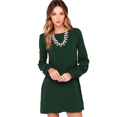 Enrich your wardrobe with this mini dress boasting a solid hue and long sleeves. Features: Made from soft material, comfy to wear. Brief solid color styling. O-neck and long sleeves. Cut with a regular fit. Specifications: Size: S (US2 UK6 EU32) / M (US4 UK8 EU34) / L (US6 UK10 EU36) / XL (US8 UK12 EU38) (optional) Color: Black / Burgundy / Green (optional) Age Group: Adult Gender: Women Material: Polyester Sleeve Length: Full Dress length: Above Knee, Mini Waistline: Natural Pattern Type…