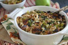 Challah, apple, leek and turkey stuffing recipe