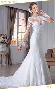 Vestido de noiva sereia See Through Back Mermaid Wedding Dresses Sexy Wedding  Dress Long Sleeve 2015 Lace Wedding Dress 2d4e66bac427