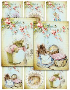 OLD PETER RABBIT assorted Digital Collage Sheet Gift Tags Instant Download jewelry atc baby shower tags