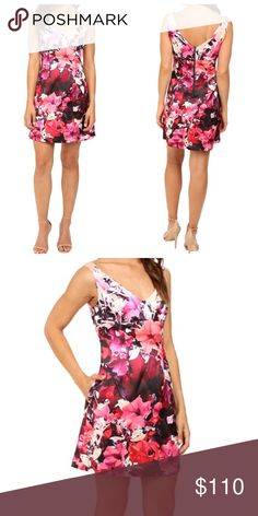 Adrianna Papell V-Neck Pink Floral Dress NWT. Adrianna Papell v-neck pink floral dress. Purchased for a wedding but ended up wearing something else! Sleeveless Satin flaunts a bold, Floral design. A-line silhouette, v-neckline. Darting at waist highlights the slim cut. Straight hemline sits at a fun, flirty length. Back zipper closure. 100% polyester. So flattering! No modeling/trades. Adrianna Papell Dresses