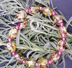 Amber Colored Handpainted Bead Bracelet by SweetBobblesJewelry For Mother's Day get 10% off your order with Promo Code MOMDAY