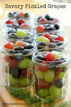 Plagemann's Savory Pickled Grapes for Thanksgiving Sweet and sour pickled grapes are wonderful with sandwiches, cold meats, roasted chicken or turkey (Thanksgiving! Grape Recipes, Canning Recipes, Fruit Recipes, Snack Recipes, Healthy Recipes, Pickled Fruit, Pickled Eggs, Pickled Grapes Recipe, Pickled Sausage