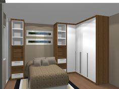 lindo projeto para aproveitar bem o quarto, ficaria lindo com o guarda roupa espelhado para dar mais amplitude ao quarto!