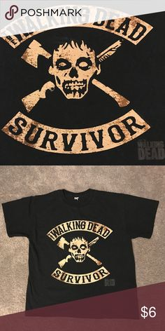 Walking Dead Survivor TShirt In good condition with no rips, stains, or tears. Fits like a medium. From smoke-free home :) Shirts Tees - Short Sleeve