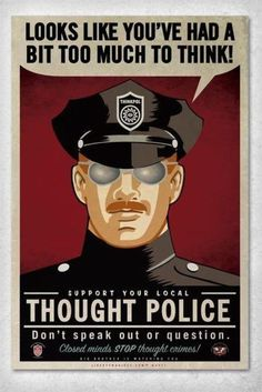 looks like youve had a bit too much to think! George Orwell 1984 inspired <3
