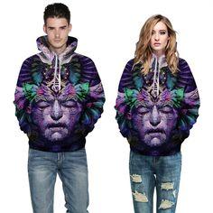 MOUTEN Mens Fleece Loose 3D Print Thickened Zip Up Casual Hoodie Sweatshirt Coat
