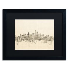 Seattle Skyline Sheet Music by Michael Tompsett Framed Graphic Art in Black / Ivory