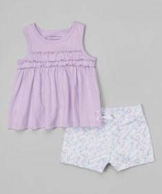 Look what I found on #zulily! Lavender Ruffle Tank & Floral Shorts - Infant, Toddler & Girls #zulilyfinds