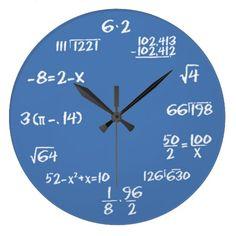 Math Equations Blue Custom Wall Clock