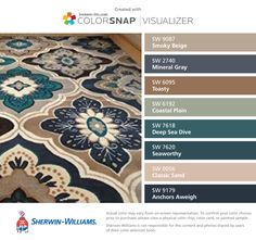 I bought this rug on amazon. The color scheme is amazing - it has both warm and cool colors and looks so beautiful in my new house! I found these colors with ColorSnap® Visualizer for iPhone by Sherwin-Williams: Smoky Beige (SW 9087), Mineral Gray (SW 2740), Toasty (SW 6095), Coastal Plain (SW 6192), Deep Sea Dive (SW 7618), Seaworthy (SW 7620), Classic Sand (SW 0056), Anchors Aweigh (SW 9179).