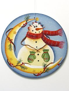 Snowman on Moon Round Ornament Handpainted Wood by ToleTreasures