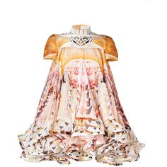 MARY KATRANTZOU Honey Cake A Flake Silk Dress ($4,465) ❤ liked on Polyvore featuring dresses, mary katrantzou, tops, vestidos, short silk dress, silk dress, short sleeve mini dress, short-sleeve dresses and short sleeve silk dress