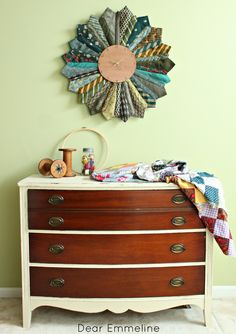 """I'm pinning this for the dresser. Oftentimes vintage dresser tops are really damaged, but the drawers aren't so bad. This is a nice way to """"fix"""" that. Plus the recycled necktie sunburst clock is cool too."""