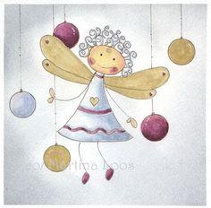 Aquarell Weihnachtsengel Gloria  von Atelier Aquarellzauber auf DaWanda.com