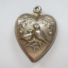 Sterling Silver Puffy Heart Charm - Sweet Birds