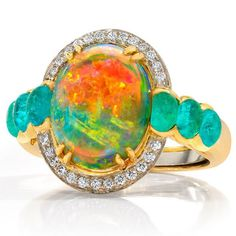 One more incredible opal! Opal and Paraiba tourmaline ring by Janet Vitkavage for EF Watermelon. The perfect pairing, don't you think?