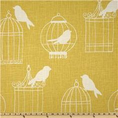 Duralee Birdcage Canary. Living room focal wall?