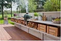 We have this smoker.  Love our Big Green Egg!  Hubs needs to build something like this for our patio :)