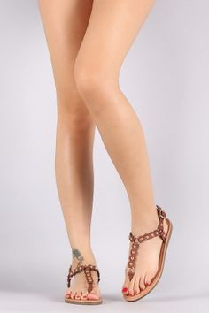 Qupid Studded Scallop T-Strap Flat Sandal