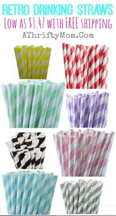 Retro Drinking Straws perfect for any party, low as $1.47 with FREE shipping #straws, #Retro, #PartyStraws