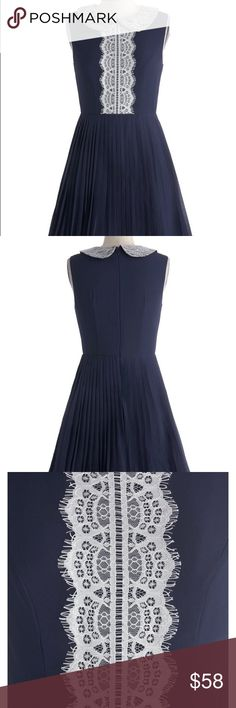 """ModCloth Size M Afternoon Tea Party Dress Navy Check out the dainty details on this beautiful navy dress from ModCloth. The Afternoon Tea Party Dress features sugar white lace at the hem, a Peter Pan collar and an accordion pleated skirt. Length: 33"""" • fully lined • back zipper with hook and eye closure • dress & lining: 100% polyester • lace one: nylon • lace two & three: 100% polyester • Dry Clean Only Modcloth Dresses Mini"""