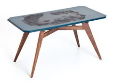 NB Table from Melbourne designer / maker Elliot Gorham of Noddy Boffin. These kitchen tables are made with solid Walnut and destroyed with fire and bitument creating a striking result. Beautiful colours and texture. Love also the form of the legs.