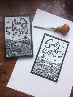 Sail away with me print. Lino print. Find my work at raeryan.bigcartel.com