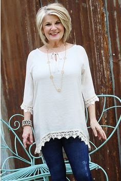 Flirty Favorite Peasant Top Creative crochet adds that little extra something to this peasant top!  Very versatile and a must for every closet!