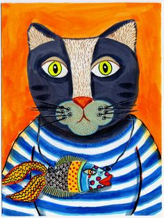 Sailor Cat Whimsical Original Painting. $50.00, via Etsy.