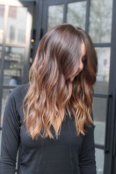 "Choi calls this one ""light, golden-toffee blond ends over natural auburn hair"" — the perfect example of an on-trend take on bronde.  #refinery29 http://www.refinery29.com/new-hair-color-trends#slide-6"