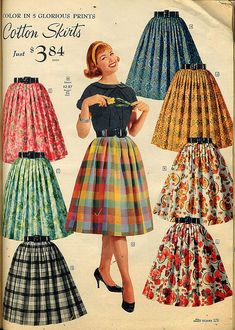 Similar to the poodle skirt, knee-length cotton skirts were very popular for women to wear. showing even more skin than the little bit longer poodle skirt Vintage Skirt, Vintage Dresses, Vintage Outfits, 1950 Outfits, Vintage Clothing, Vintage Fashion 1950s, Mode Vintage, Fifties Fashion, Unique Vintage