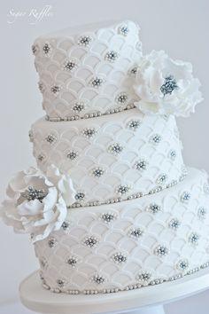 Silver Scalloped Wedding Cake