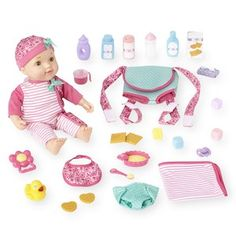 You & Me Pink Baby Doll with Carrier Playset - Caucasian