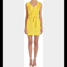 DVF Yellow Bobbie Dress From Barneys 0 Sleeveless v-neck dress with ruffle front detail, gathered elastic waist, and waist belt.  Fully lined. Never worn. Diane von Furstenberg Dresses