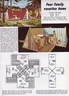 A-frame house plans for second homes & family vacation cabins: 12 retro designs . A Frame House Plans, A Frame Cabin, House Floor Plans, A Frame Floor Plans, Vintage House Plans, Cabins In The Woods, Little Houses, Retro, Planer