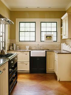 Small Space, Big Style- A small kitchen doesn't mean you have to downsize your dreams of style. For example, a small farmhouse sink and in-scale faucet allow this tiny kitchen to retain its cottage charm. Check manufacturers for small-scale apron-front sinks to fit any space.