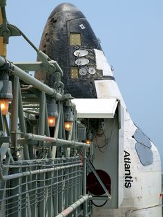 STS-135 Space Shuttle Atlantis Up-Close I've worked on that gang plank, the final path of steel to the shuttle's Astronauts entry. Sandblasting and spraying zinc. Most memorable moments and I feel very blessed for the opportunity to do so. You don't have to be a rocket scientist to experience great things kids. Hard work and determination will never let you down.