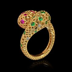 Mousson atelier, collection Bubbles, ring, Yellow gold 750, Diamonds, Pink sapphires, Tsavorites